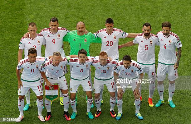Hungary players line up for the team photos prior to the UEFA EURO 2016 Group F match between Austria and Hungary at Stade Matmut Atlantique on June...