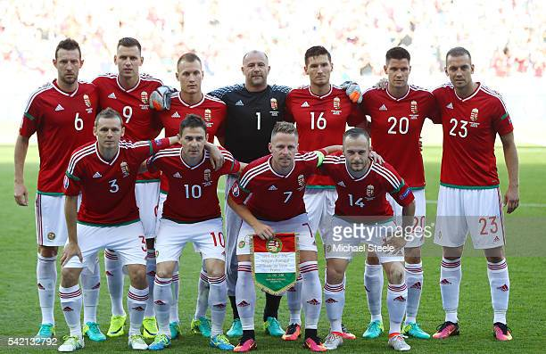 Hungary players line up for the team photos prior to the UEFA EURO 2016 Group F match between Hungary and Portugal at Stade des Lumieres on June 22...