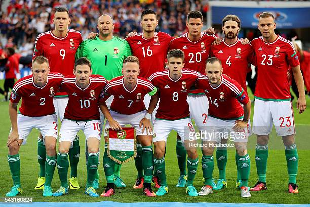 Hungary players line up for the team photos prior to the UEFA EURO 2016 round of 16 match bewtween Hungary and Belgium at Stadium Municipal on June...