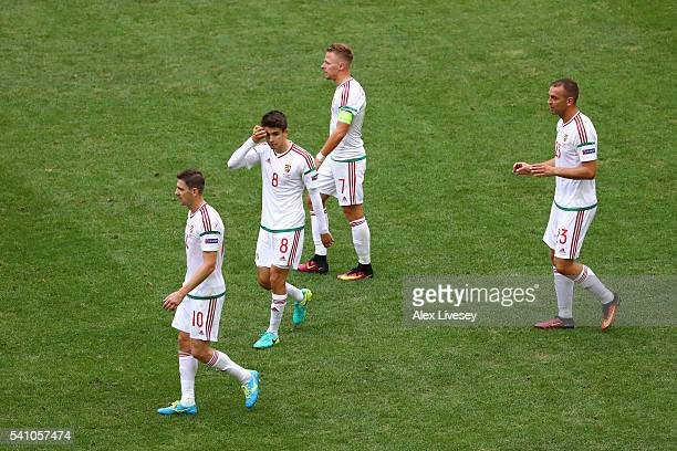 Hungary players look dejected after conceding the first goal during the UEFA EURO 2016 Group F match between Iceland and Hungary at Stade Velodrome...