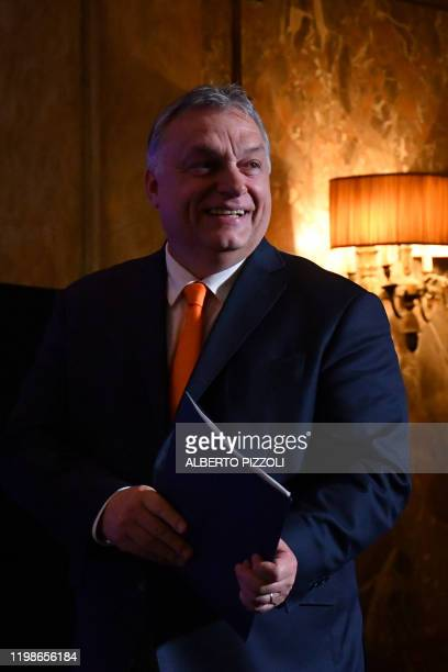 Hungary prime Minister Viktor Orban arrives to address the National Conservatism conference gathering several European far-right and sovereignist...