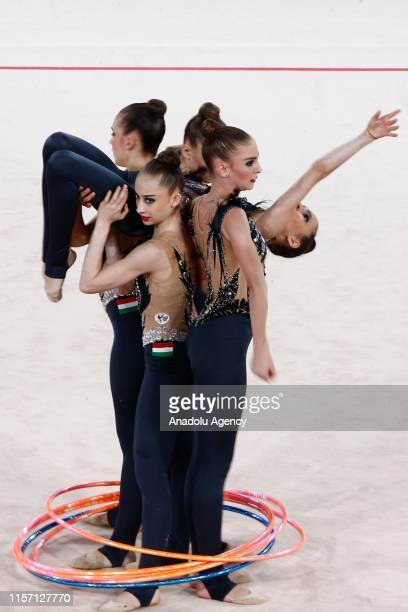 Hungary rhythmic gymnast team performs during the final within the 1st FIG Rhythmic Gymnastics Junior World Championships at Rhythmic Gymnastics...