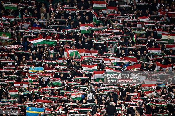 Hungary spectators show their support during the International Friendly match between Hungary and Croatia at Groupama Arena on March 26, 2016 in...