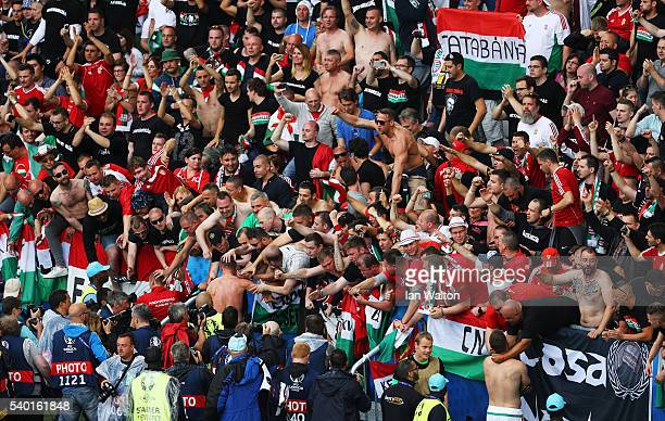 Hungary supporters celebrate their team's win after the UEFA EURO 2016 Group F match between Austria and Hungary at Stade Matmut Atlantique on June...