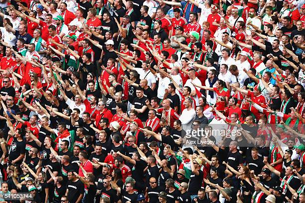 Hungary supporters enjoy the atmosphere during the UEFA EURO 2016 Group F match between Iceland and Hungary at Stade Velodrome on June 18 2016 in...