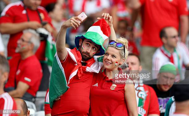Hungary supporters enjoy the atmosphere prior to the UEFA EURO 2016 round of 16 match bewtween Hungary and Belgium at Stadium Municipal on June 26...