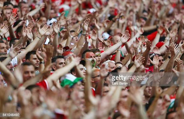 Hungary supporters enjoy the match atmosphere during the UEFA EURO 2016 Group F match between Iceland and Hungary at Stade Velodrome on June 18 2016...