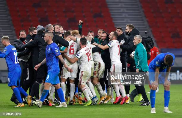 Hungary team celebrate at the full time whistle during the UEFA EURO 2020 Play-Off Final between Hungary and Iceland at Puskas Arena on November 12,...