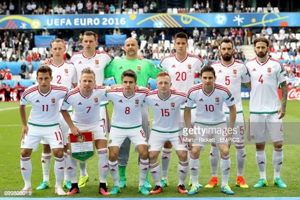 Hungary team group Hungary's Adam Lang Adam Szalai goalkeeper Gabor Kiraly Richard Guzmics Attila Fiola Tamas Kadar Hungary's Krisztian Nemeth Balazs...