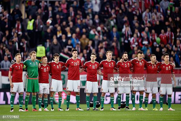 Hungary team line up for a minute of silence prior to kickoff during the International Friendly match between Hungary and Croatia at Groupama Arena...