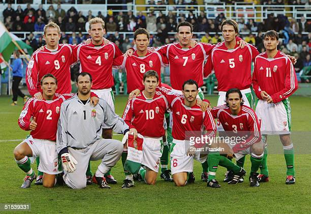 Hungary team line up prior the World Cup 2006 Qualifying match between Sweden and Hungary at The Rasunda Stadium on October 9 2004 in Stockholm Sweden