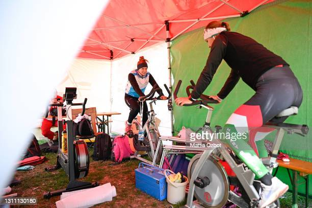 Hungary team trains on the rowing machine during day two of the 2021 World Rowing European Olympic and Paralympic Qualification Regatta on April 06,...