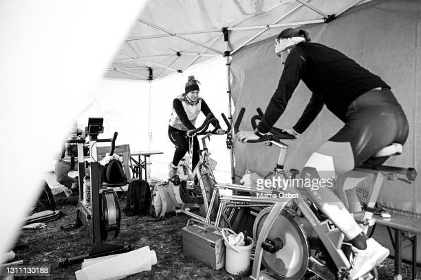 Hungary team trains on the rowing machine during the day two of the 2021 World Rowing European Olympic and Paralympic Qualification Regatta on April...