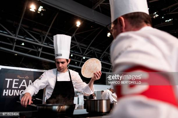 Hungary's Adam Pohner competes during the Europe 2018 Bocuse d'Or International culinary competition on June 11 2018 in Turin