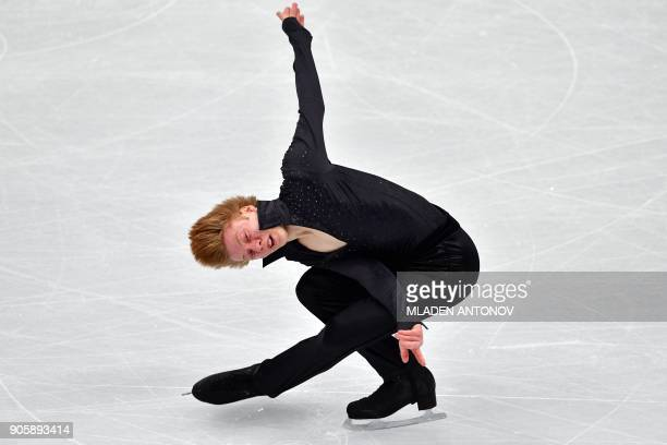 Hungary's Alexander Maszljanko performs his routine in the men's short program at the ISU European Figure Skating Championships in Moscow on January...