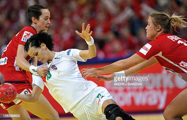 Hungary's Anita Gorbicz fights for the ball with Norway's Kristine Lunde-Borgersen and Marit Malm Frafjord on December 15, 2012 during a women's 2012...