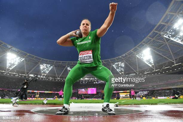 Hungary's Anita Marton competes in the final of the women's shot put athletics event at the 2017 IAAF World Championships at the London Stadium in...