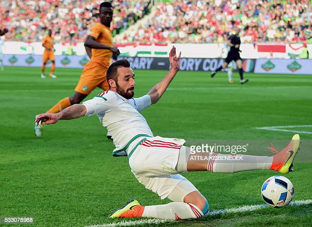 Hungary's Attila Fiola goes for the ball during the pre UEFA EURO 2016 friendly football match between Hungary and Ivory Coast in Budapest on May 20...
