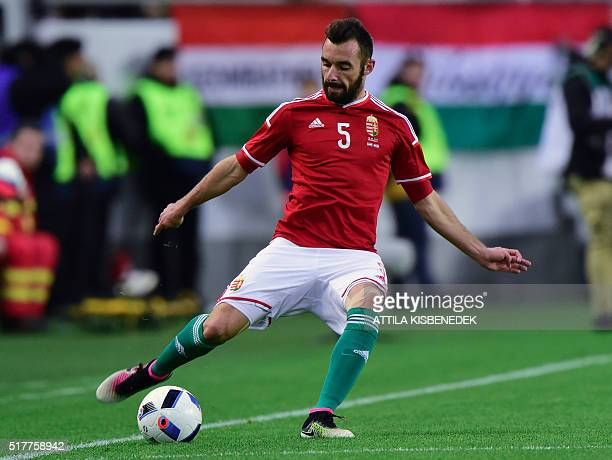 Hungary's Attila Fiola plays the ball during the friendly football match Hungary v Croatia in Budapest Hungary on March 26 2016 / AFP / ATTILA...