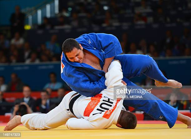 Hungary's Barna Bor competes with Brazil's Rafael Silva during their men's 100kg judo contest repechage match of the London 2012 Olympic Games on...