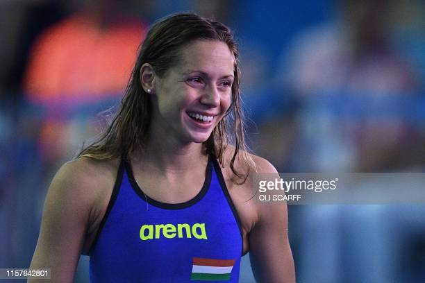 Hungary's Boglarka Kapas celebrates winning the final of the women's 200m butterfly event during the swimming competition at the 2019 World...
