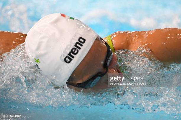Hungary's Boglarka Kapas competes in the Women's 200m butterfly swimming semifinal at the Tollcross swimming centre during the 2018 European...