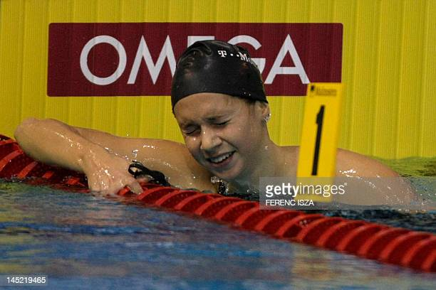 hungary's Boglarka Kapas reacts after she competed in the final of the women's 800metre freestyle swimming event in the 31st European Swimming...