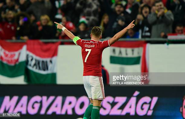 Hungary's captain Balazs Dzsudzsak celebrates scoring during the friendly football match Hungary v Croatia at the Ferenc Puskas Stadion in Budapest...