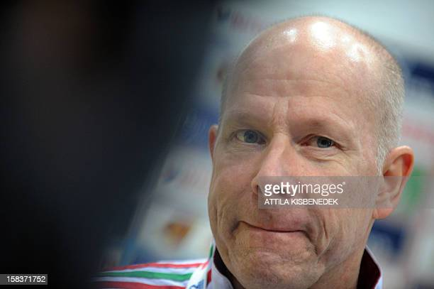 Hungary's coach Norwegian Karl Erik Bøhn listens to a journalist' questions on the media day of the 2012 EHF European Women's Handball Championship...