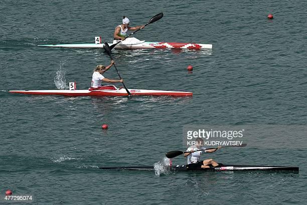 Hungary's Danuta Kozak competes in the kayak single 500m women's final at the 2015 European Games in Mingachevir some 300 km from Baku on June 16...