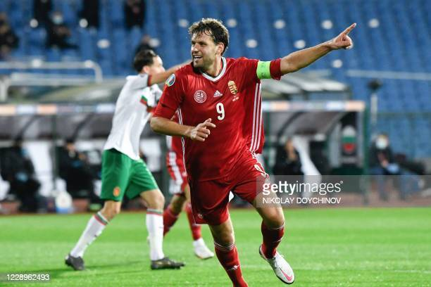 Hungary's forward Adam Szalai celebrates after his team scored during the UEFA Euro 2020 Play-off Semi-Final football match between Bulgaria and...