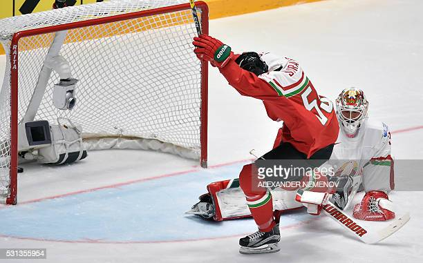 Hungary's forward Andrew Sarauer celebrates a goal past Belarus' goalie Kevin Lalande during the group B preliminary round game Hungary vs Belarus at...