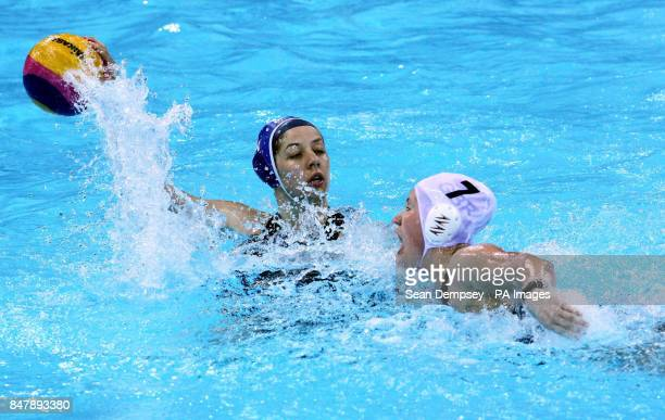 Hungary's Gabriella Szucs and Great Britain's Lisa Gibson during the London 2012 Test at the Water Polo Arena London