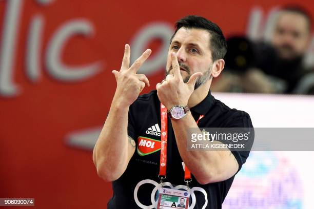 Hungary's head coach Ljubomir Vranjes gestures during the group D match of the Men's 2018 EHF European Handball Championships between Czech Republic...