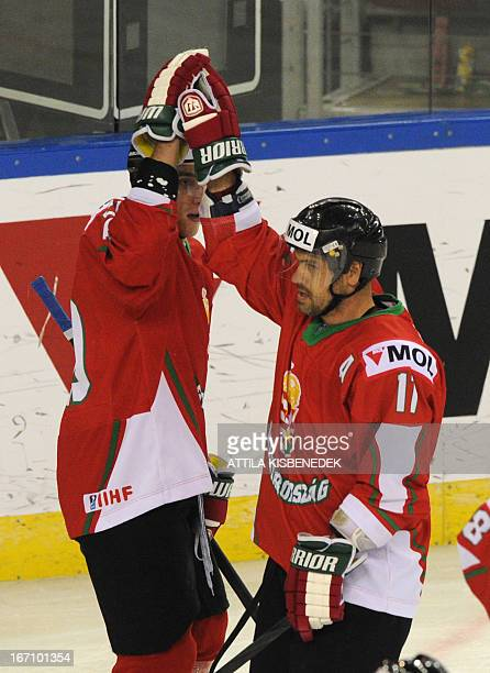 Hungary's Istvan Sofron celebrates scoring with his teammate Balazs Ladanyi during the 2013 IIHF Ice Hockey World Championship Division I Group A...