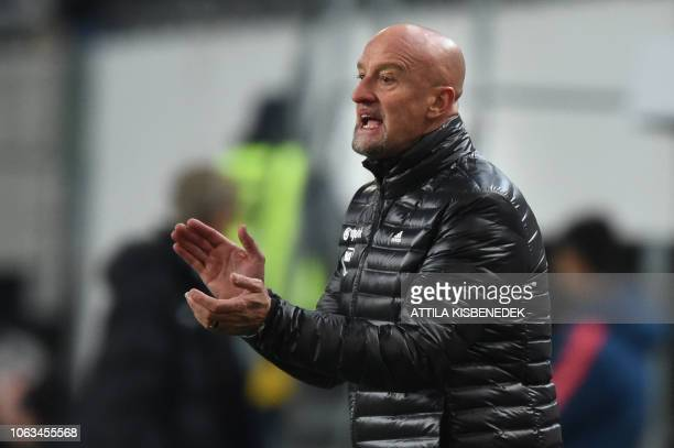 Hungary's Italian head coach Marco Rossi reacts during the UEFA Nations League football match Hungary v Finland in Budapest on November 18 2018