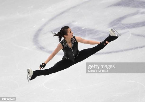 Hungary's Ivett Toth performs on March 21 2018 in Milan during the Ladies figure skating short program at the Milano World Figure Skating...