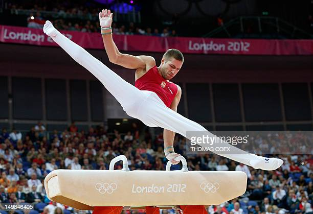 Hungary's Krisztian Berki competes during the men's pommel horse final of the artistic gymnastics event of the London Olympic Games on August 5 2012...