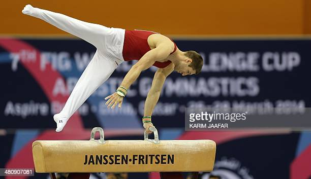 Hungary's Krisztian Berki who won a gold medal during the London Olympic Games competes during the men's pommel horse event during the 7th Doha Art...
