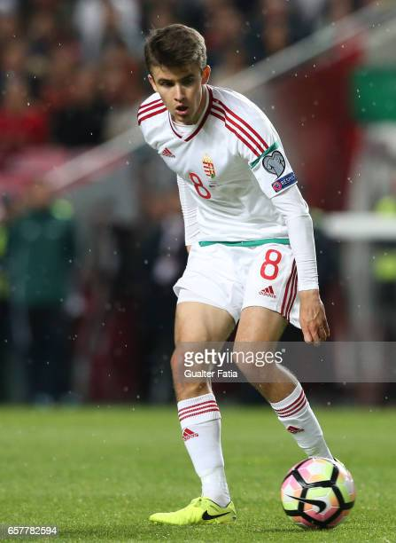 Hungary's midfielder Adam Nagy in action during the FIFA 2018 World Cup Qualifier match between Portugal and Hungary at Estadio da Luz on March 25...