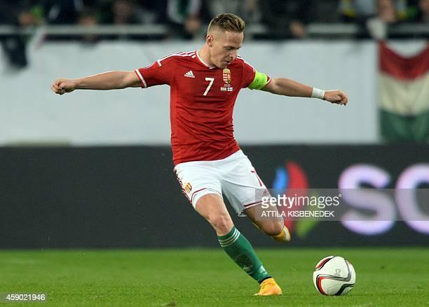 Hungary's midfielder Balázs Dzsudzsák plays the ball during the UEFA 2016 European Championship qualifying round Group F football match Hungary vs...