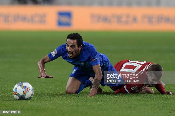 Hungary's Midfielder István Kovács vies with Greece's Midfielder Carlos Zeca during the UEFA Nations League football match between Greece and Hungary...