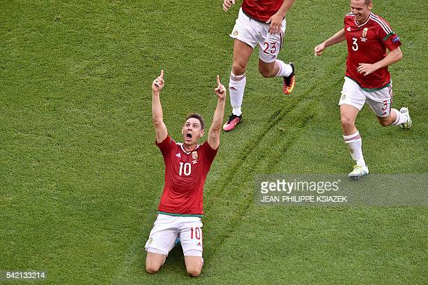 TOPSHOT Hungary's midfielder Zoltan Gera celebrates after scoring a goal during the Euro 2016 group F football match between Hungary and Portugal at...