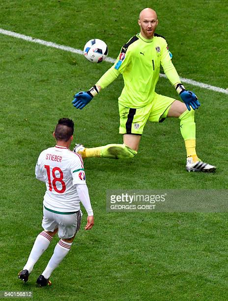 Hungary's midfielder Zoltan Stieber scores his team's second goal during the Euro 2016 group F football match between Hungary and Austria at the...