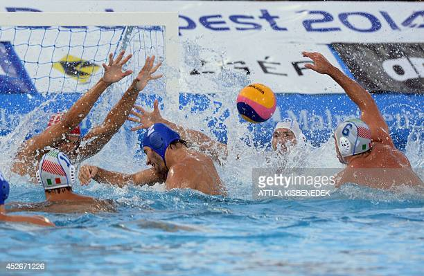 Hungary's Miklos GorNagy vies during the Water Polo European Championships men's semifinal match Italy vs Hungary in Budapest on July 25 2014 AFP...
