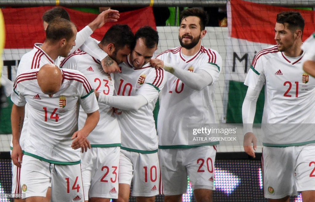 Hungary's Nemanja Nikolic (2ndL) celebrates with teammates after scoring during the international friendly football match Hungary against Costa Rica in Budapest on November 14, 2017. /