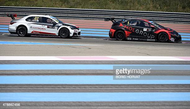 Hungary's Norbert Michelisz and Argentina's JoseMaria Lopez Citroen compete in the FIA World Touring Car Championship in Le Castellet southern France...