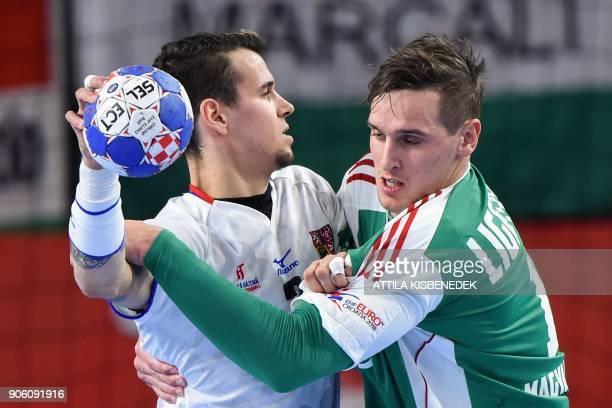 Hungary's Patrik Ligetvari holds off Czech Republic's Roman Becvar during the group D match of the Men's 2018 EHF European Handball Championships...