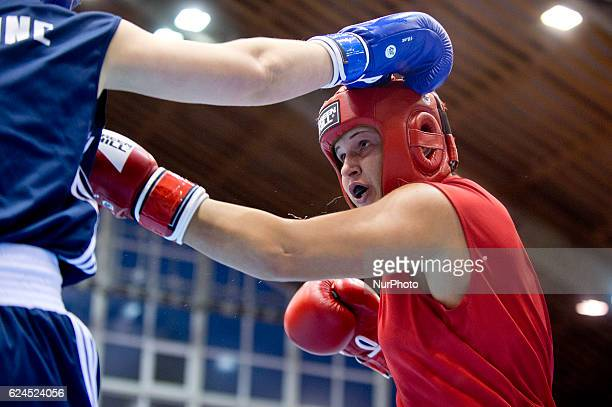 Hungary's Petra Szatmari during the EUBC European Womens Boxing Championships Sofia 2016 game between Hungary's Petra Szatmari and Ukraine's...