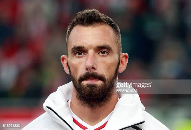 Hungary's player Attila Fiola looks on prior to the World Cup 2018 football qualification match between Hungary and Switzerland at the Groupama Arena...